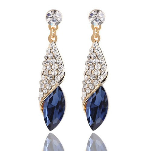 Blue Gold Plated Earrings
