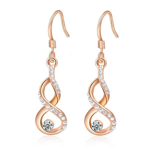 Infiniti Gold Plated Clear Earrings