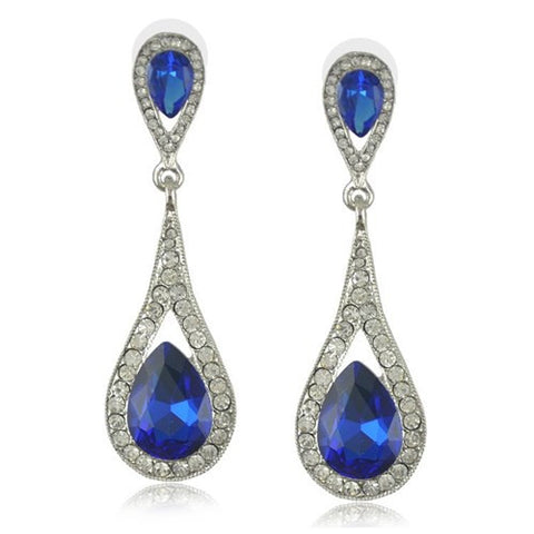 Blue Silver Teardrop Crystal Earrings