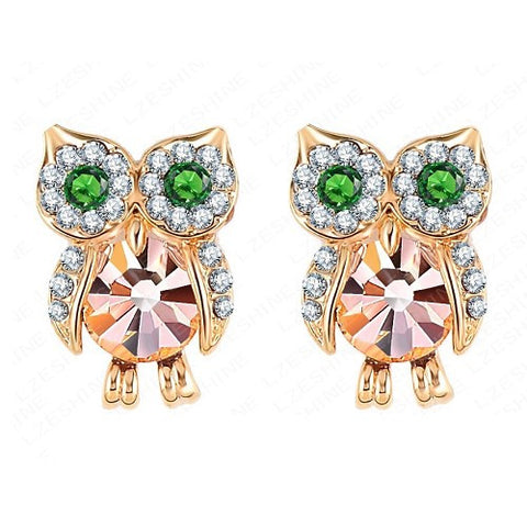 Animal Earrings 18K Gold Plate Element Austrian Crystal Owl Studs Jewelry