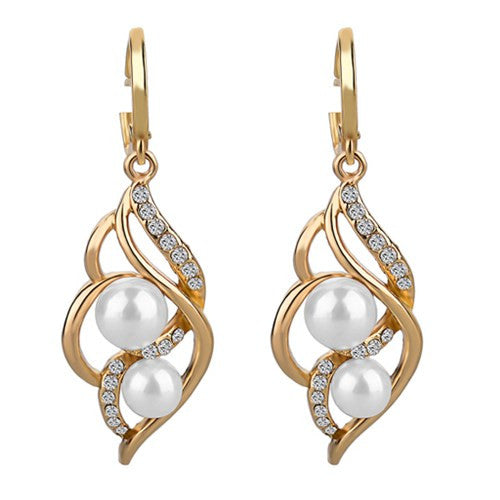 Pearls Drop Gold/Silver Earrings