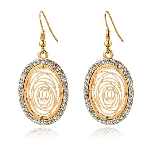 Round Gold Silver Plated Drop Earrings