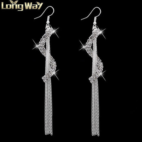 Vintage Tassel Letters Silver Plated Crystal Earrings
