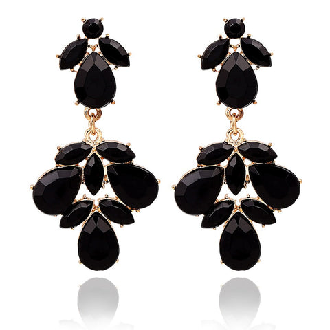 Black Crystal Gold Earrings