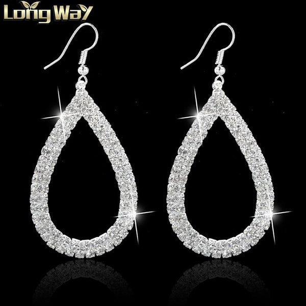 Water Drop Gold Plated Loop Crystal Earrings