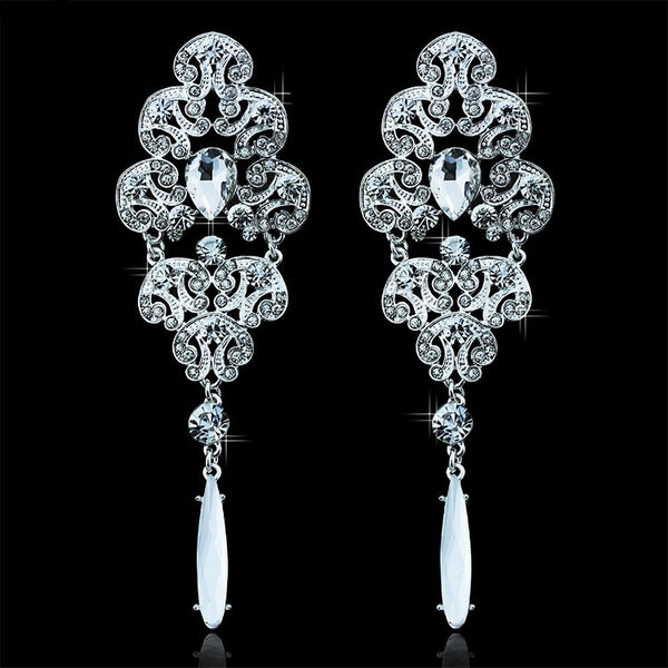 Long Drop Silver Rhinestone Crystal Earrings