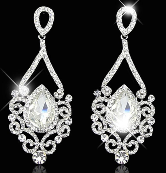 Platinum Silver Rhinestone Crystal Drop Earrings