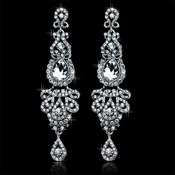 Chandelier Crystal White K Plated Earrings