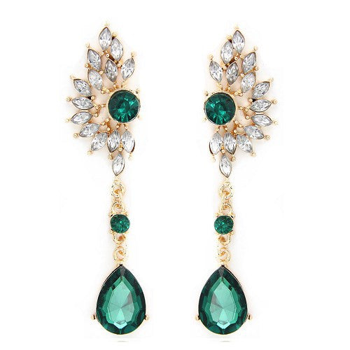 Vintage Party Chandelier Earrings Green Crystal Pearl Big Womens Jewelry