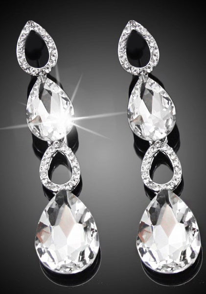 Rhinestone Crystal Water Drop Earrings