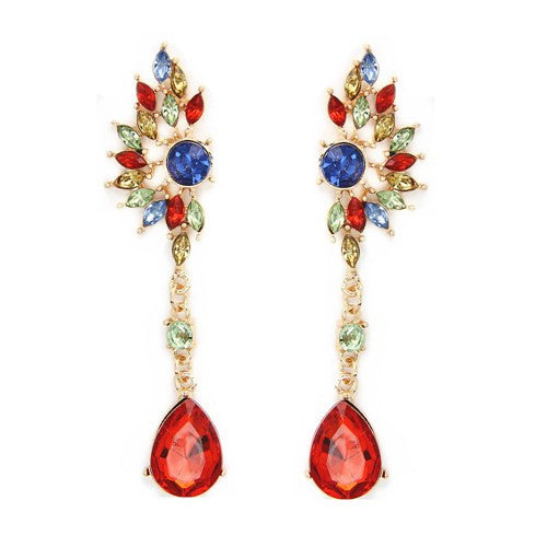 Vintage Party Chandelier Earrings Red Crystal Pearl Big Imitated Jewelry