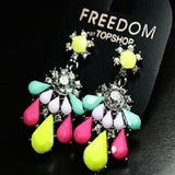 Fashion Earrings Fluorescence Flower Dangle Chandelier Stud Crystal Womens
