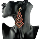 Pink Long Fashion Crystal Chandelier Earrings Retro Luxury Square Shape Womens
