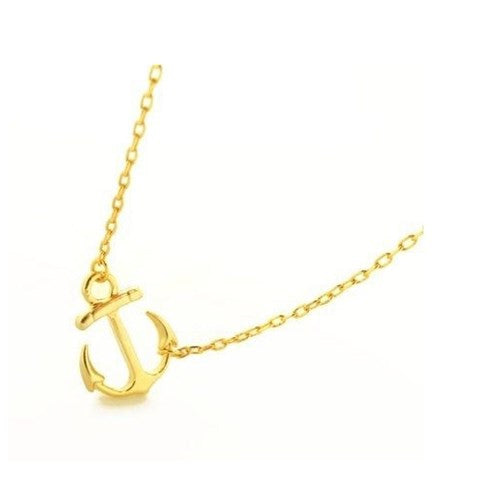 Anchor Gold Sideways Pendant