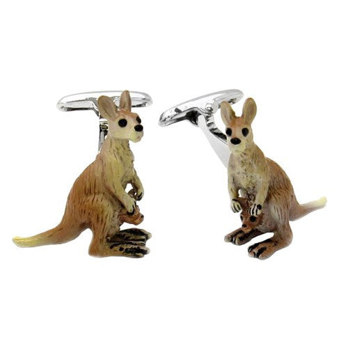 Kangaroo Australia Cufflinks Zoo Pouch Animal Joey