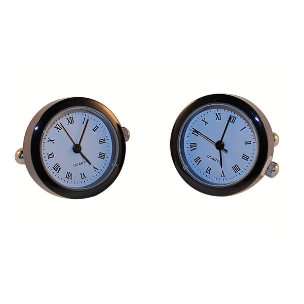 Black White Functional Clock Watch Cufflinks