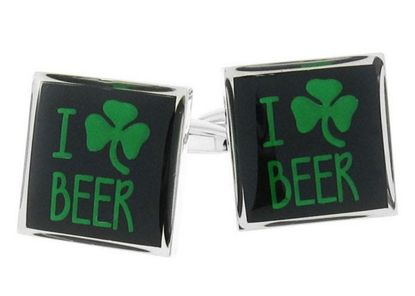 I Love Beer Green Clover Cufflinks