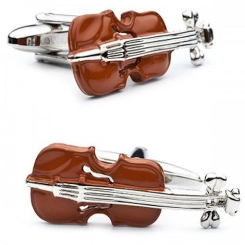 Brown Violin Music Cufflinks