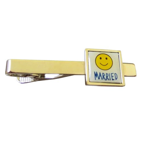 Married Happy Face Wedding Tie Clip
