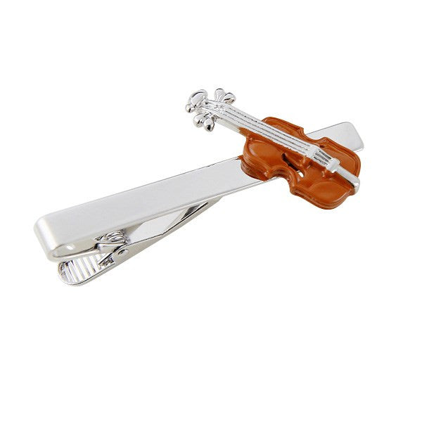 Brown Violin Tie Bar Clasp