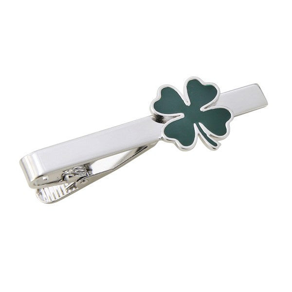 Green Clover Irish Shamrock Tie Bar Clasp