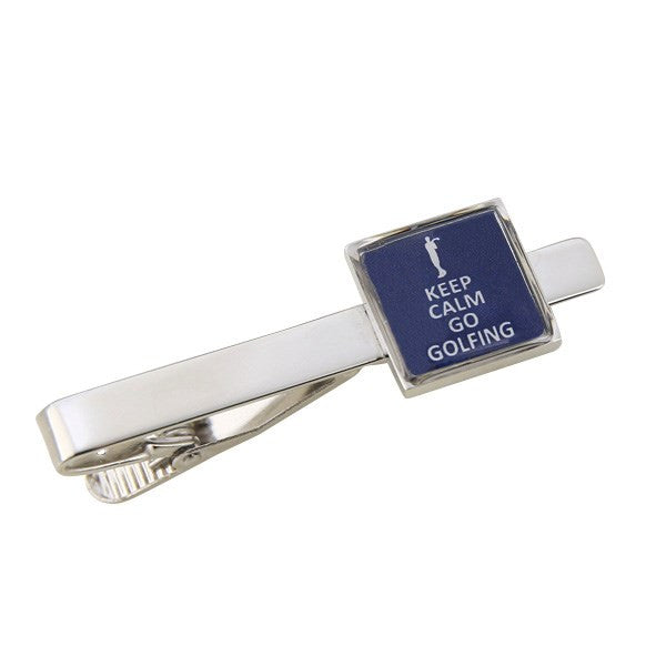 Keep Calm Go Golfing Tie Bar Clasp