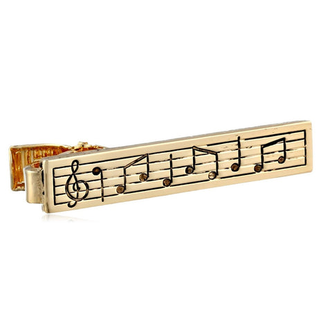 Gold Music Note Tie Clasp Clip Bar