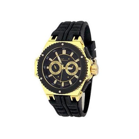 Black Gold Mens Geneva Oversized Sports Watch