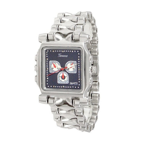 Silver Blue Metal Watch