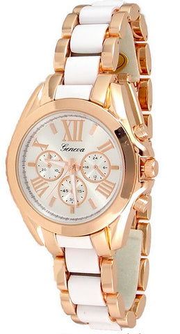 Rose Gold White Womens Watch