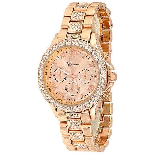 Rose Gold Crystal Womens Watch