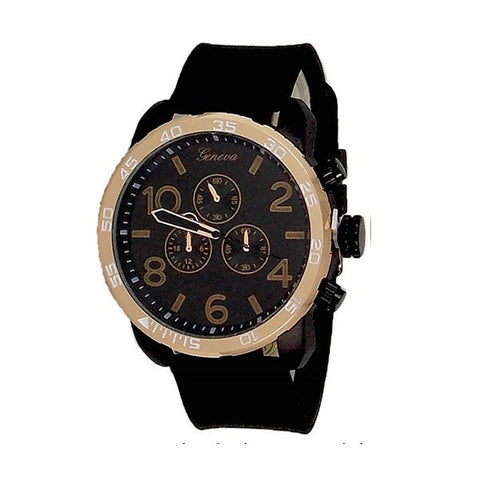 Rose Gold Black Mens Watch