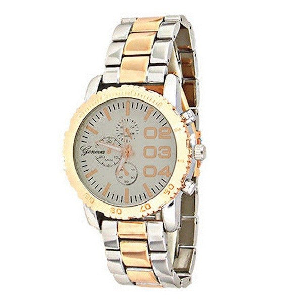 Silver Rose Gold Metal Watch