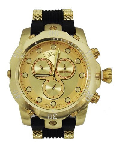Gold Mens Metal Geneva Oversized Watch