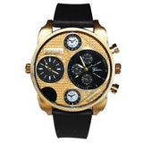 Dual Time Gold Black Mens Watch
