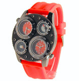 Dual Time Thermometer Compass Red Mens Watch