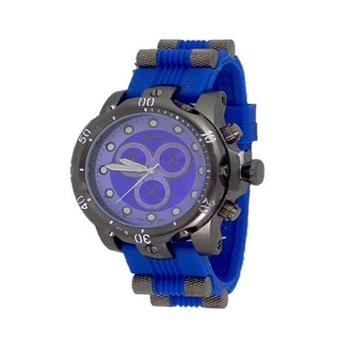 Blue Black Mens Geneva Oversized Watch