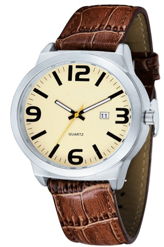 Brown Leather Band Sports Watch