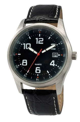 Black Leather Band Sports Watch