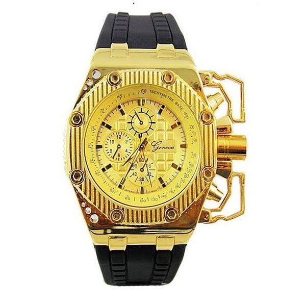 Gold Black Metal Oversized Mens Watch