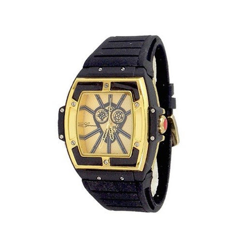 Gold Blue Black Mens Geneva Oversized Watch