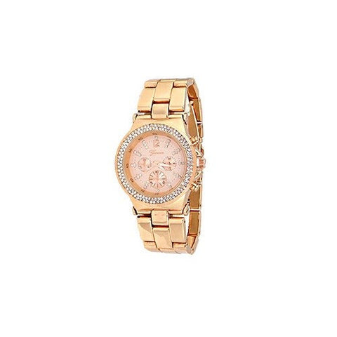 Rose Gold Geneva Metal Women Watch