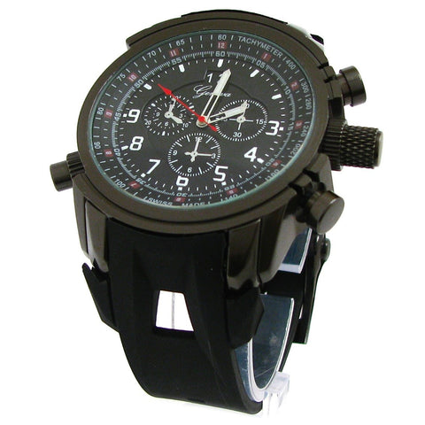 Black Gun Geneva Round Watch