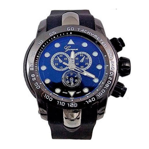 Black Mens Geneva Metal Oversized Sports Watch