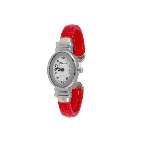 Slim Red Leather Watch