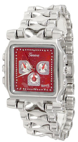 Silver Red Metal Watch