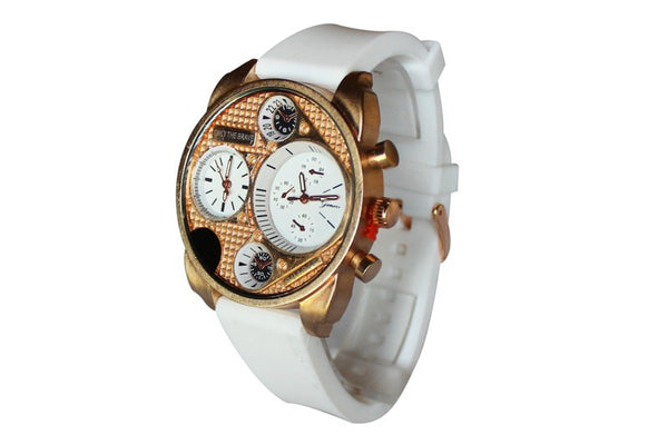 Dual Time White Rose Gold Watch