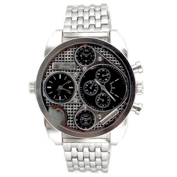 Dual Time Silver Watch