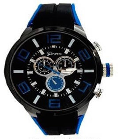 Black Blue Metal Oversized Sport Watch