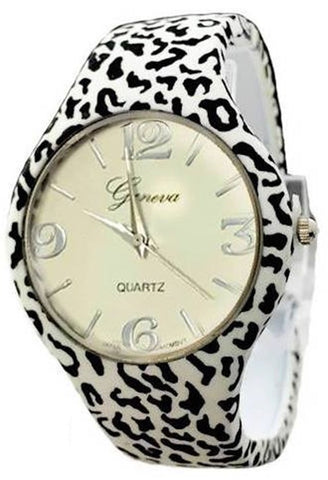 Zebra Animal Print Leather Band Watch
